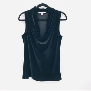 Boston Proper Size 8 Black Sleeveless Velvet Top